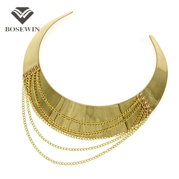 Women Punk New Chic Wide Alloy Torques Choker Necklaces fashion Fashion Gold Chain Tassel Collares Statement Jewelry Bijoux femme
