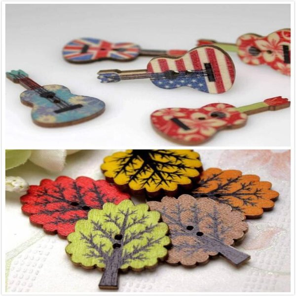 WB-14 Multicolor 100pcs Mixed color guitar/little tree cartoon Wooden Buttons decorative Fit Sewing Scrapbooking Crafts Garment Accessories