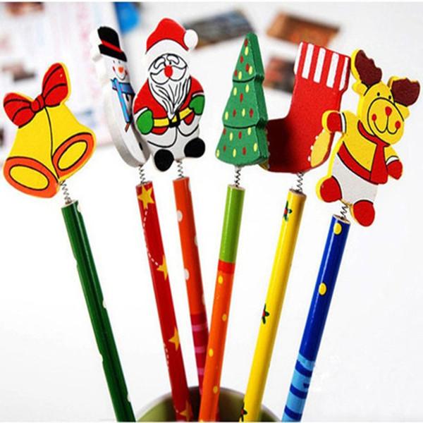Neuheit Weihnachts Bleistift Geschenke für Kinder Zurück zu Schule Weihnachten Thema Kinder Cartoon Holz Bleistift mit Federn zufällige Farbe