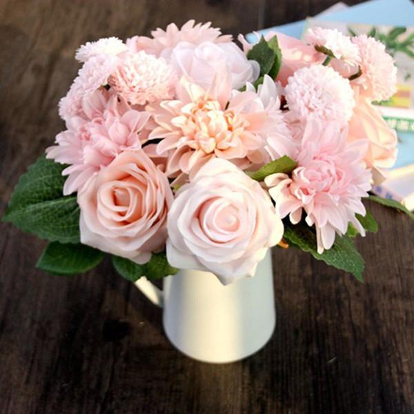 Silk Flower 1 Bouquet Roses Dahlias Artificial Flowers Fall Vivid Fake Leaf Wedding Home Party Decoration High Quality