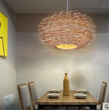chandelier personality of modern pastoral rattan bamboo nest balcony aisle Bar Cafe chandelier lighting dining room counter coffee house