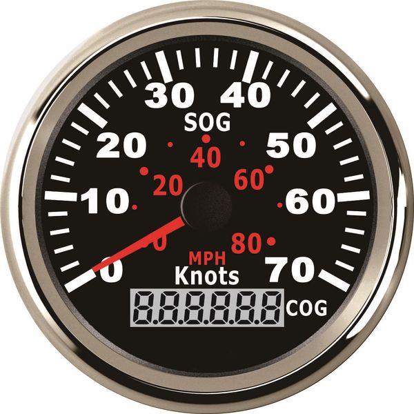 Compteur de vitesse GPS universel Speedo jauge 70 noeuds pour bateau bateau 3-3 / 8 '' (85mm) 9-32V avec rétroéclairage