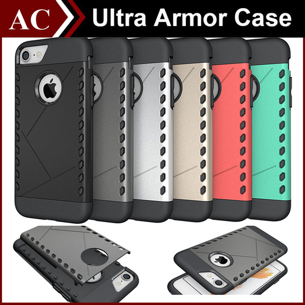 For iPhone 7 Plus Ultra Slim Rugged Hybrid Armor TPU Soft + Hard PC Case 2 in 1 Back Cover Ultrathin Shockproof Fashion Shell Opp Bag