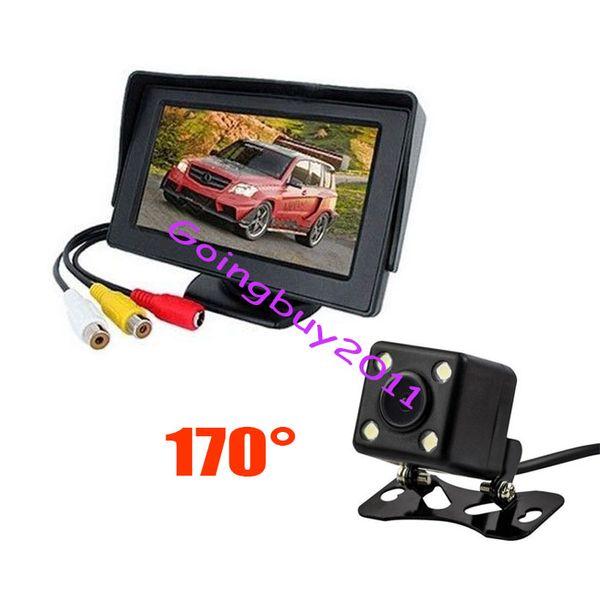 "top popular 4.3"" Car LCD Monitor + 4 LED Reversing Wide Angel Camera 170 Car Rear View Kit 2021"
