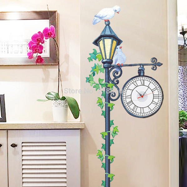 Lonely Pigeon on the Street Light with Clock DIY Wall Sticke Wallpaper Stickers Art Decor Mural Room Decal Home Decoration order<$18no track