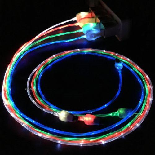 Flowing led vi ible fla hing u b charger cable 1m 3ft data ync type c light up cord lead for am ung 7 6 edge htc blackberry univer al