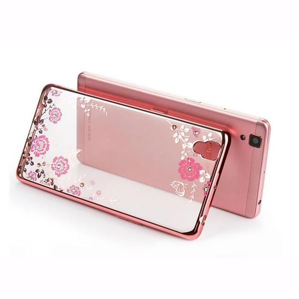 For VIVO Y85 V3 Max Secret Garden Flowers Rhinestone Phone Cases Rose Gold Plating TPU Back Case Cover