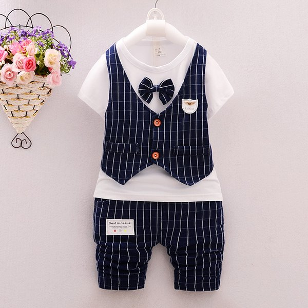 Boy Summer Clothes Sets Children Stripped tie T-shirt+Pants Two-piece Sets Fashion short sleeve Boy Clothing Suit Tracksuits Outfits K100