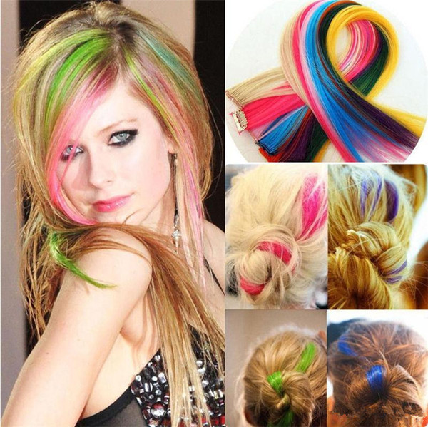 top popular Best Sales Colorful Popular Colored Hair Products hair Clips Fashion Popular Colored Synthetic Clip On In Hair accessories 2704 2019