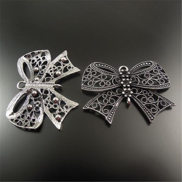 10 Pçs / pacote Antique Silver Bow Liga de Zinco Pingente Charme Jóias Encontrar 54 * 42 * 3mm AU32424 fazer jóias