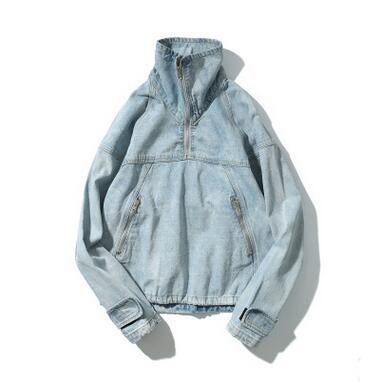 2017 New Arrival Hi-Street Men's Denim Pullover Jacket Hoodies Zipper Stand Collar Patchwork Hiphop Graffiti Jacket Jeans Coats
