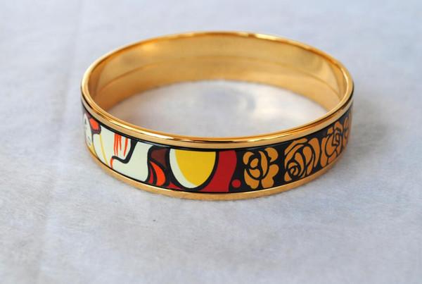 Bracciale smalto placcato oro 18 carati serie Dreams and Roses per donna Top buoni braccialetti braccialetti larghezza 15mm Gioielli stilisti