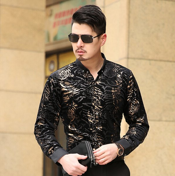 2016 Chemise Homme Camisa Social Masculina Seda Slim Fit Camisas de oro negro de terciopelo Camisa de vestir de leopardo para hombre Camisa de seda de lujo Nuevo