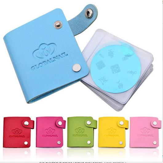 Fashion Women Nail Stamping Plates Storage Bag Nail Tools Stamp Manicure Durable PU Leather Konad Holder For Nail Art Templates
