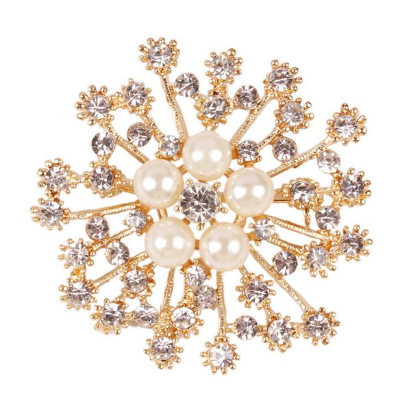 Fashion Wedding Brooches Pins Luxury Imitation Pearl Alloy Flower Brooches Women Brooches Wholesale