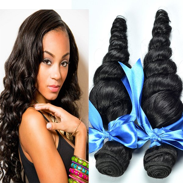 8A High Quality Brazilian Loose Wave Unprocessed Human Hair Extensions 8-30inch Natural Black Color Dyeable 4pcs/lot Free Shipping DHL Thick