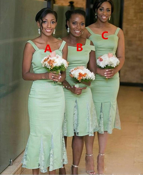 African Sage Green Spaghetti Bridesmaid Dresses Three Style Sheath Bridesmaid Gowns With Lace Knee Length Women Cheap Prom Party Dresses