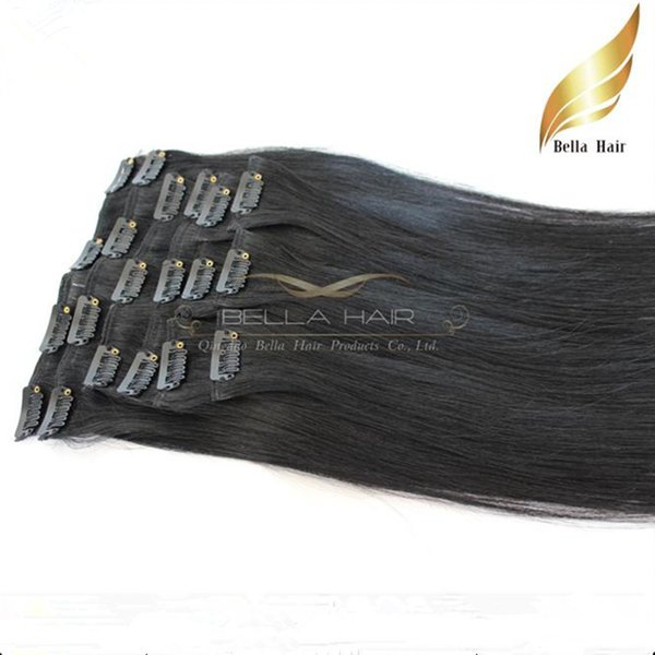 top popular 8A 100% Indian Human Hair Straight Clip In Extensions 20 Inch Jet Black Human Hair Weaves Weft 50g set DHL Free Shipping Bella Hair 2019