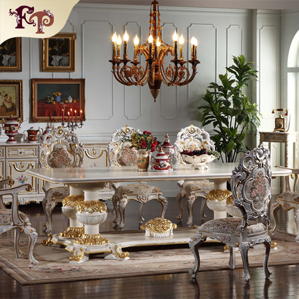 2019 European Antique Dining Room Furniture Hand Carved Dining Room Set  Italian Style Furniture French Furniture Classic Dining Chair From ...