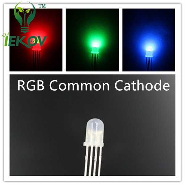 5000pcs/lot High Quality 5mm Diffused COMMON Cathode RGB LED Red Green Blue 4Pins Tri Color Emitting Diodes F5 RGB Diffused LED LIGHT