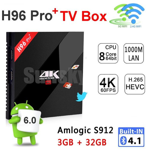 3GB RAM 32GB ROM Android 7.1 TV Box 4K Smart Mini PC H96 Pro Plus Amlogic S912 Octa Core 2.4G/5.8G Wifi Bluetooth 4.1 Streaming Media Player