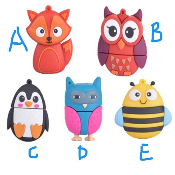 Kids Cute Animal Owl/Fox/Bee/Penguin USB 8GB 16GB 32GB 64GB Flash Drive Portable 100% New for Xmas Storage Pen/Stick Gift