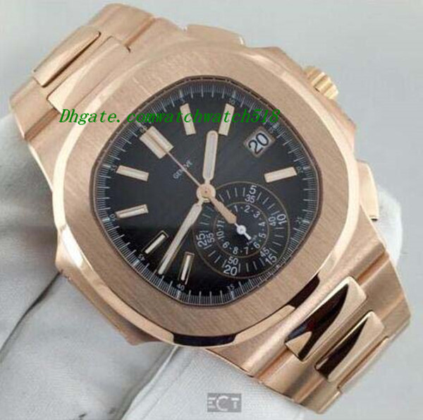 Роскошные часы новый автоматический n@utilus 5980 / 1R черный циферблат 18kt розовое золот