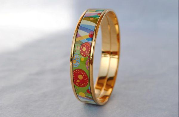 Flower of Love series 18K gold-plated enamel bangle bracelet for woman Top Advanced product bracelets bangles width 15mm Fashion jewelry