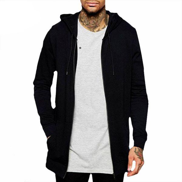 Klassische schwarze lange Hoodies Sweatshirts Mantel Männer dicken Hoodie Casual Pocket Zipper Oberbekleidung Sweatshirt Jacke