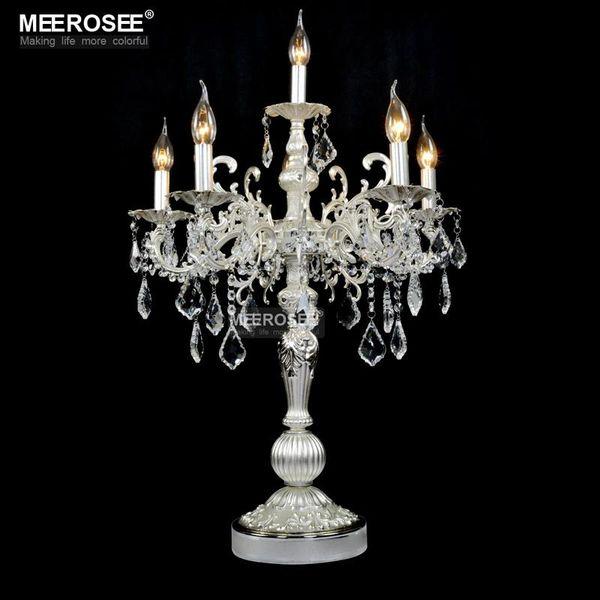 Bela cor prata Vintage luz de mesa Luxuoso cristal claro lâmpada de mesa com candelabros de casamento para o restaurante do hotel iluminação do quarto