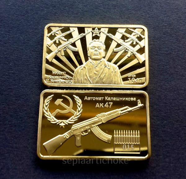 top popular 20pcs lo AK47 Rifle Kalaschnikow CCCP RUSSIAN 1947 GOLD LAYERED INGOT BAR 2019