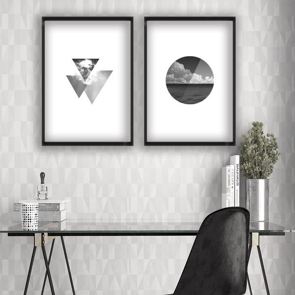 Acheter 2 Peintures Noir Et Blanc Rond Et Triangle Paysage Mode Décoration Peinture Murale Art Affiches De 14 24 Du Thesceneryofhome Dhgate Com