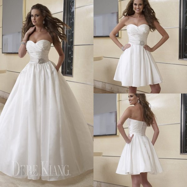 Simple A Line Beach Wedding Dresses 2 in 1 Detachable Long Skirt Two ...