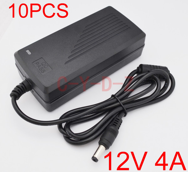 10PCS High quality IC solutions AC 100V-240V DC 12V 4A Switch power supply, 48W LED adapter, DC 5.5mm*2.1-2.5mm +Free shipping