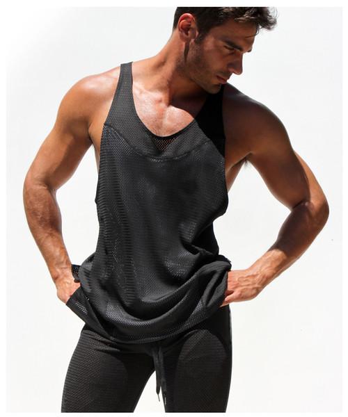 Gros-Respirant Mens Net Tank Mâle D'été Sport Shirt Sans Manches Transparent Tops Gym T-shirt Homme Fitness Gilet Singlets Muscle Top