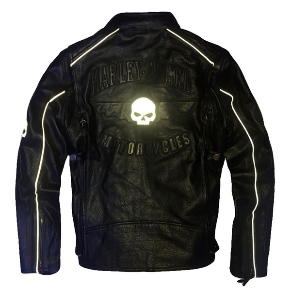 New arrival Harley angel motorcycle suits genuine leather jacket lapel neck double zipper Reflective skull punk leather coats