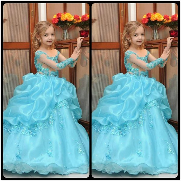 Blue Lace Arabic 2017 Floral Flower Girl Dresses Organza Ball Gown Child Pageant Dresses Beautiful Flower Girl Wedding Dresses