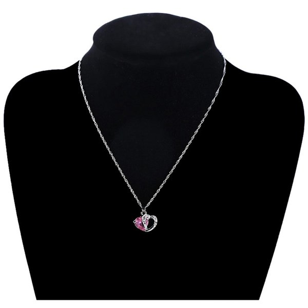9 Colors Lovely Heart Charm Necklace Crystal Gemstone Amethyst Pendant Necklace 925 Silver Plated Simple Clavicle Chain Women Gifts