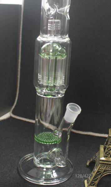 Grande bongo de vidro com 12 braços de pneus reciclar favo de mel 19 polegada verde sino forma perc com 18.8mm conjunta bongos de vidro frete grátis