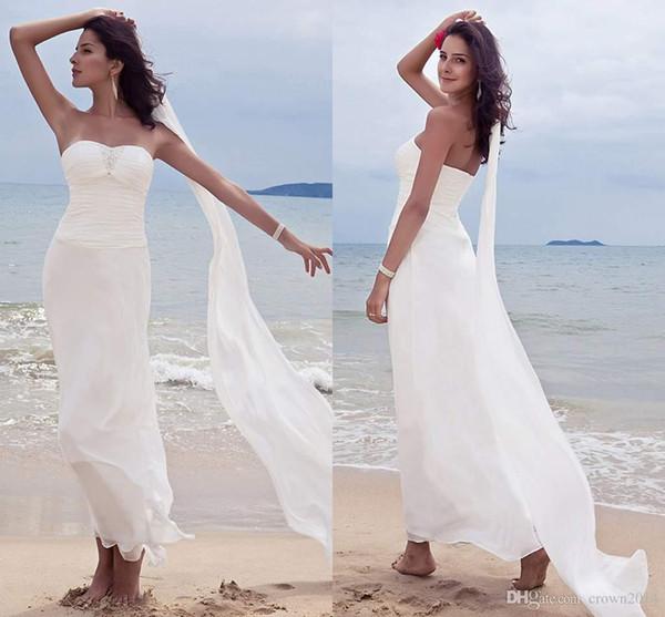 top popular 2019 Summer Chiffon Beach Wedding Dresses with Sweetheart Beaded Sheath Ankle Length Pleated Backless Bridal Gowns vestido de novia 2019