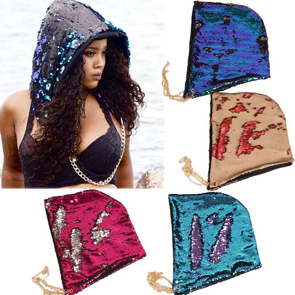 Halloween Party Decorations Cool Man Woman Bling Hat with Metal Chain DIY Magic Double Color Reversible Swipe Drawstring Hats Party Gift