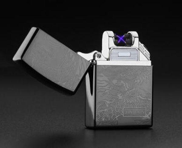 Usb creativo de carga ultradelgada encendedores a prueba de viento arco de doble arco creativo personalidad cigarrillo electrónico encendedor envío gratis