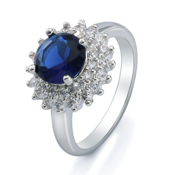 Special Valentine Gift Round-cut Sapphire and White Cubic Zirconia Ring 18k White Gold Plated Finger Ring Free Shipping