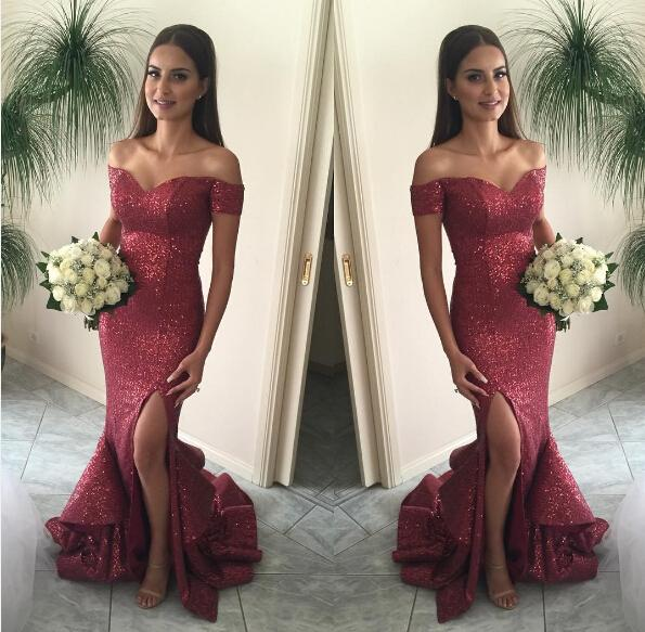 Best Selling Burgundy Sequins Mermaid Shining Sequins Off-Shoulder Floor Length Long Elegant Evening Prom Dress Gowns Exquisite Chic