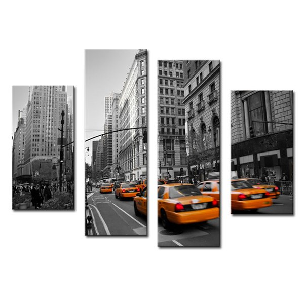 Amosi Art-4 Pieces Modern Stretched Canvas Print of Yellow Taxi New York Street Photo Print Canvas for Wall Home Decor with Wooden Framed