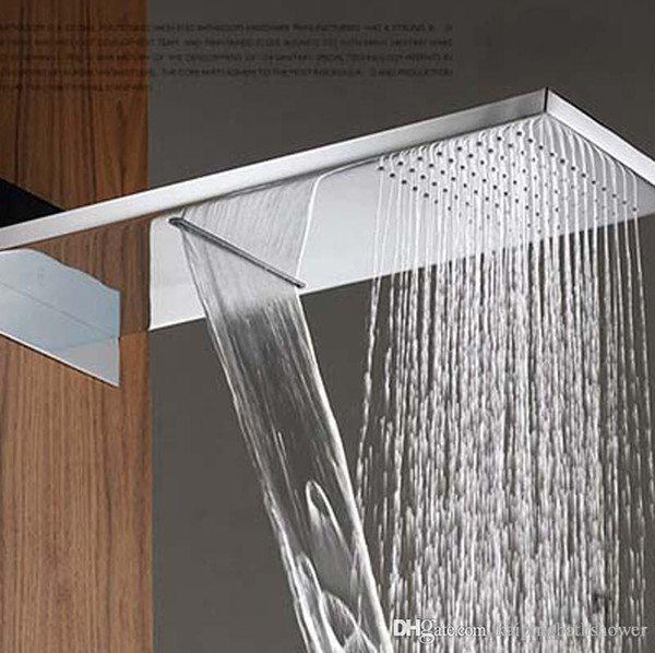 230*554*30mm Fixed waterfall Shower Head with Dual Rain and ...
