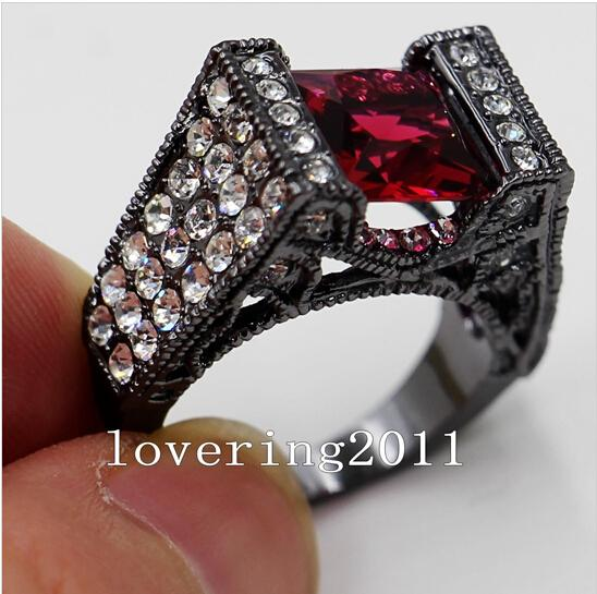 Venta al por mayor - Size5 / 6/7/8/9/10 Amantes de la vendimia de cristal de la joyería 10KT negro Gold Filled mujeres lady039; s Anillo de compromiso de la boda para el regalo de amor