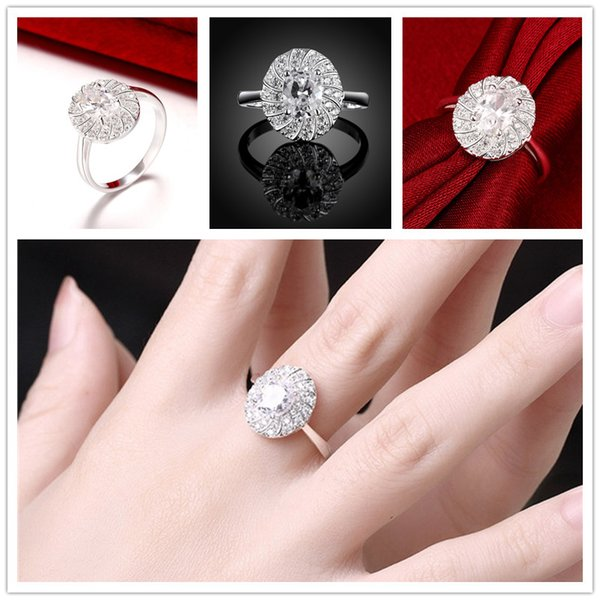 Brand new 10 pieces 925 silver Gem Flower Ring Free shipping GSSR766 Factory direct sale brand new fashion sterling silver finger ring