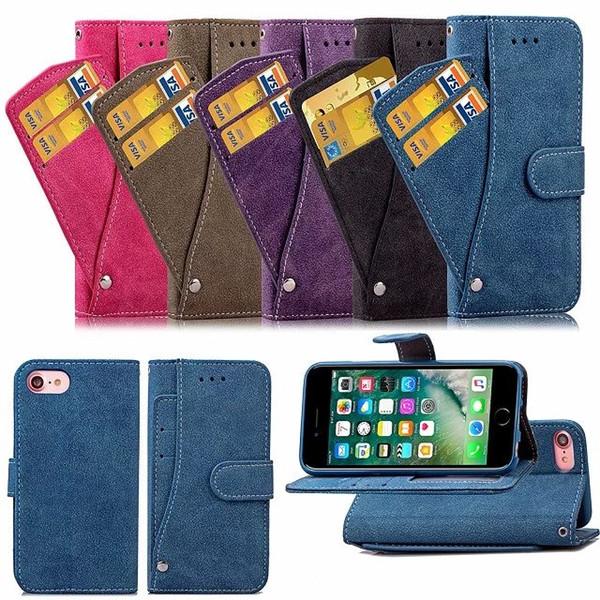 Matte Fielted Feel Wallet Leather ID tarjeta de crédito tragamonedas titular del soporte funda de la cubierta de la tapa del tirón para iphone 7 iphone7 plus