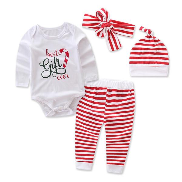 Weihnachtsbaby-Ausstattungen 2017 Ins-Herbst-Spielanzug-lange Hülsen-Buchstaben Bestes Geschenk überhaupt + Striped pant + Hat-Stirnbands setzt weiche Baumwolle